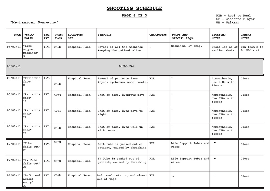 Shooting schedule - Blood Rush Productions